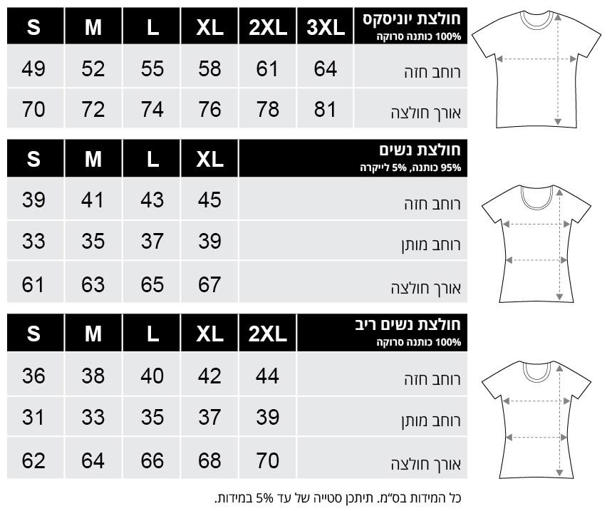 טבלת מידות חולצות טי